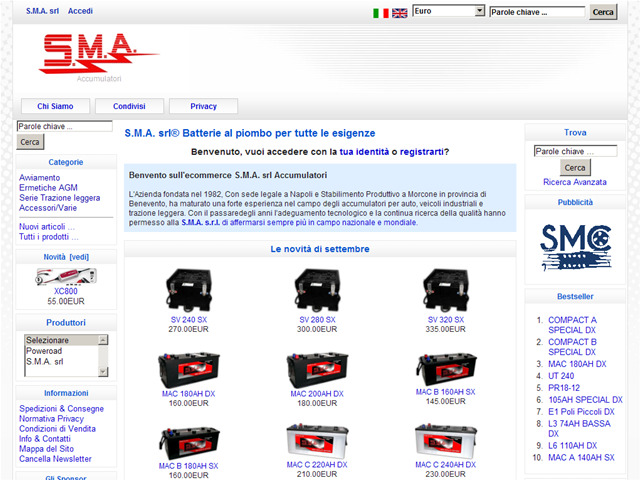 Anteprima www.batteriesma.it/ecommerce