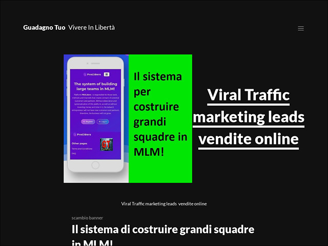 Anteprima www.guadagnotuo.com/viral-traffic-marketing-leads-vendite-online